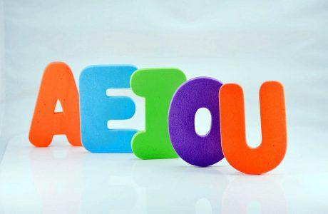 حروف A, E, I, O, U